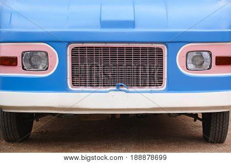 Hippie van front part. Retro vintage vehicle. Trip