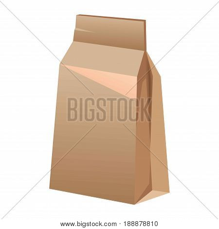 Brown paper bag for food packing isolated on white. Recycle pack made of carton with locking element for storing lunches and other things. Environment saving thing close up vector illustration.