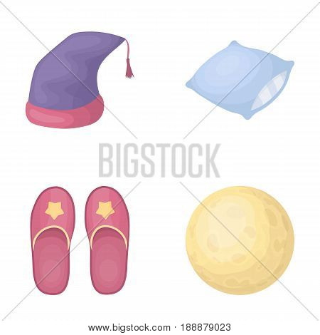 Night cap, pillow, slippers, moon. Rest and sleep set collection icons in cartoon style vector symbol stock illustration .