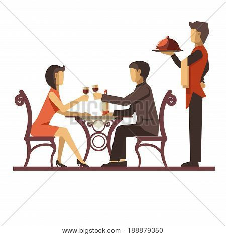 Young couple dating in restaurant and waiter with dish standing near. Vector colorful illustration in flat design of woman and man sitting at table and tasting wine. Romantic eating out template