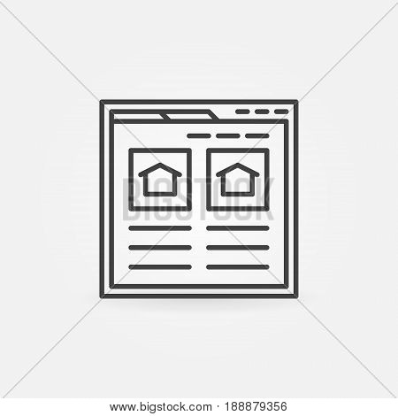 Find real estate website icon - vector searching house webpage concept symbol or design element in thin line style