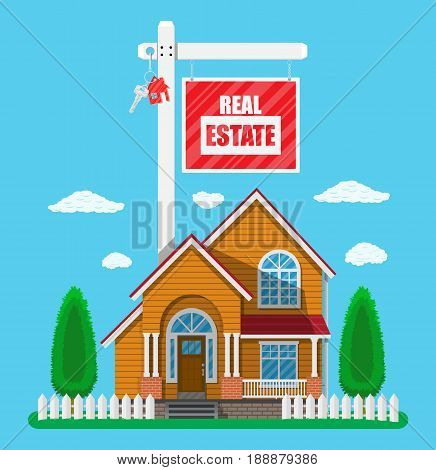Real estate placard sign with key. Private suburban house, trees, sky and clouds. Real estate, sale and rent house. Vector illustration in flat style