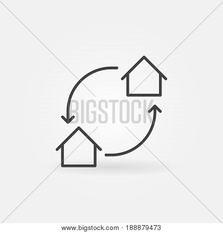 House exchange icon - vector home swap concept symbol or logo element in thin line style