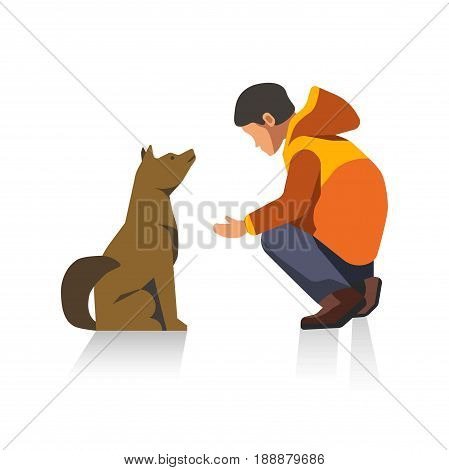 Male faceless brunette cartoon character in orange jacket, brown shoes and jeans squats and teaches brown dog, that sits and listens, commands isolated vector illustration on white background.