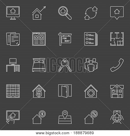 Houses for rent outline icons. Vector collection of houses for rent signs on dark background