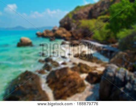 Abstract blurred beautiful seaside with wood bridge