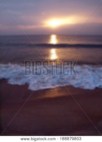 Abstract blurred romantic tropical beach with wave sea sun and sky