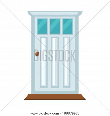 Front light door with three small glasses, brown knob and threshold isolated on white. Vector colorful illustration in flat design of closed wooden equipment that protects various buildings.