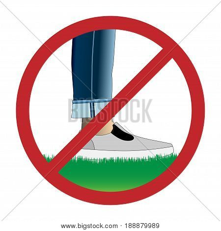 Do not step on grass sign, prohibition sign, Do not walk on lawns