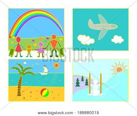 Summer seaside resort, winter ski resort, family with luggage, flight by plane.Set for travel agencies and tour operators.Summer and winter family recreation concept. Vector illustration.