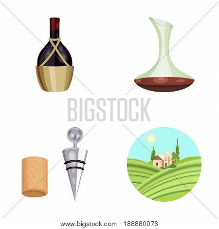 A bottle of wine in a basket, a gafine, a corkscrew with a cork, a grape valley. Wine production set collection icons in cartoon style vector symbol stock illustration .