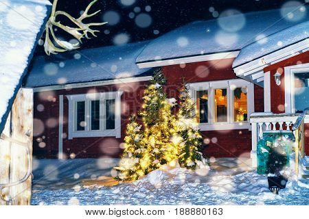 House In Reindeer Farm In Winter Lapland Finland Night Snowfall