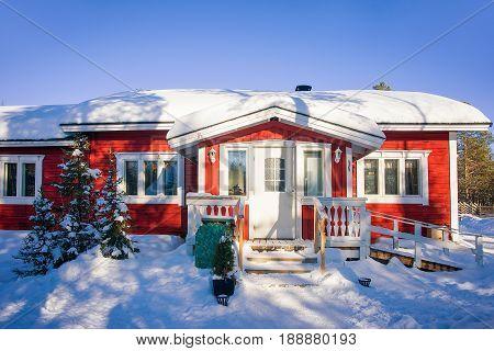 House At Winter Reindeer Farm In Lappish Rovaniemi