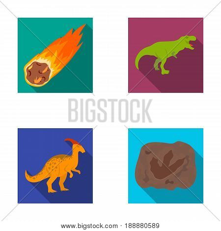 A falling meteorite, parasaurolophus, tyrannosaurus, an imprint of a dinosaur's foot. The dinosaur and prehistoric period set collection icons in flat style vector symbol stock illustration .