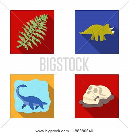 Sea dinosaur, triceratops, prehistoric plant, human skull. Dinosaur and prehistoric period set collection icons in flat style vector symbol stock illustration .