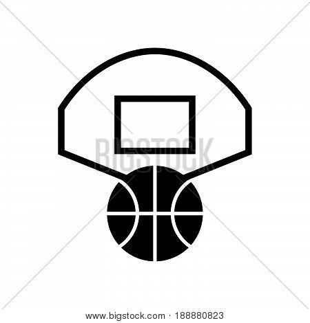 Basketball symbol, black basket-ball and white basketball backboard