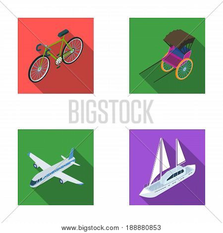 Bicycle, rickshaw, plane, yacht.Transport set collection icons in flat style vector symbol stock illustration .