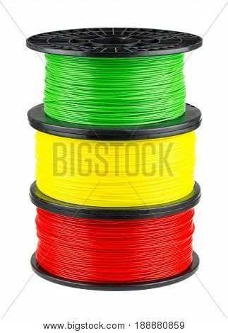 Three ABS or PLA filament coils for 3d print isolated on white background