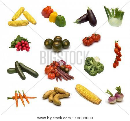 large page of assortment  vegetables on white background