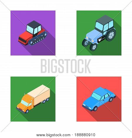 Tractor, caterpillar tractor, truck, car. Transport set collection icons in flat style vector symbol stock illustration .