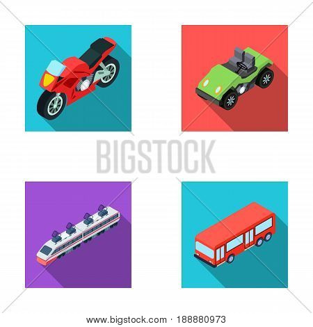 Motorcycle, golf cart, train, bus. Transport set collection icons in flat style vector symbol stock illustration .