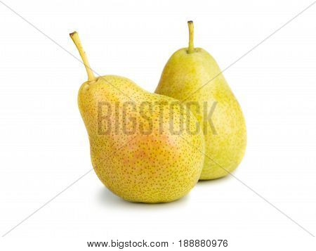 Two ripe yellow pears on white background