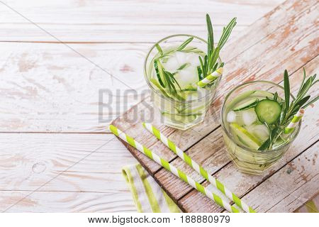 Cold Rosemary, Lime And Cucumber Lemonade.  Copyspace, Top View