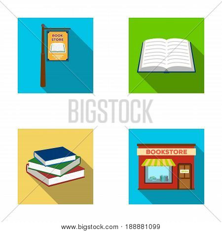 A signboard, a bookstore, a stack of books, an open book. A library and a bookstore set collection icons in flat style vector symbol stock illustration .