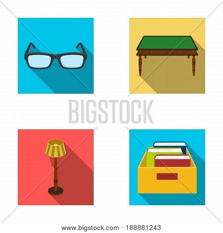 Glasses, a wooden table, a floor lamp, a box with books. A library and a bookstore set collection icons in flat style vector symbol stock illustration .