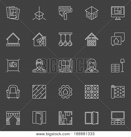 Home Design icons - vector interior design outline symbol or elements on dark background