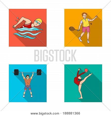 Swimming, badminton, weightlifting, artistic gymnastics. Olympic sport set collection icons in flat style vector symbol stock illustration .