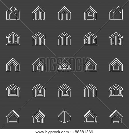 House and property icons. Vector collection of minimal outline real estate signs or design elements on dark background