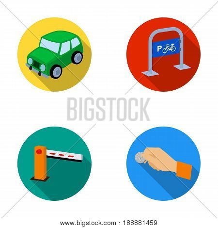 Car, parking barrier, bicycle parking place, coin in hand for payment. Parking zone set collection icons in flat style vector symbol stock illustration .