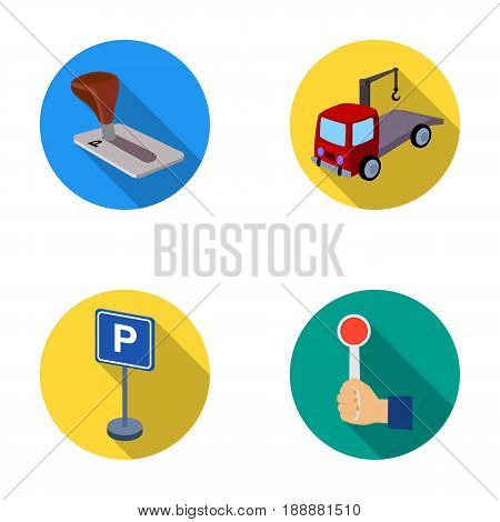 Transmission handle, tow truck, parking sign, stop signal. Parking zone set collection icons in flat style vector symbol stock illustration .