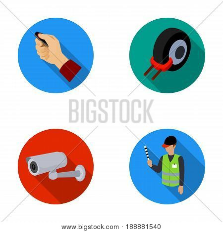 Car alarm, wheel rim, security camera, parking assistant. Parking zone set collection icons in flat style vector symbol stock illustration .