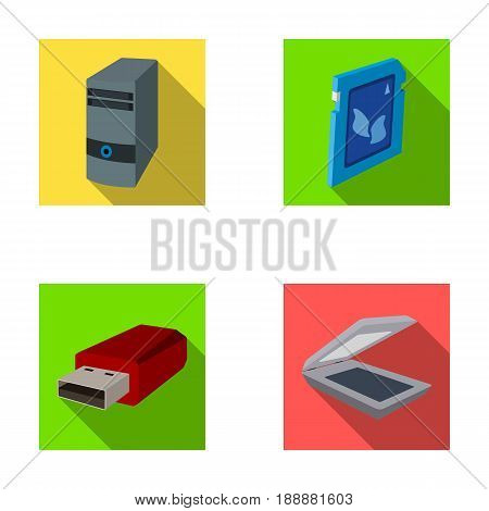 A system unit, a flash drive, a scanner and a SD card. Personal computer set collection icons in flat style vector symbol stock illustration .