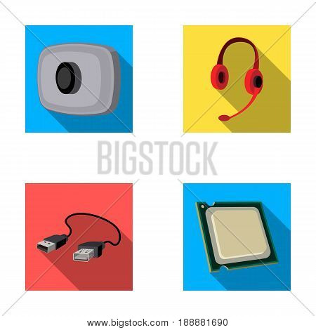 Webcam, headphones, USB cable, processor. Personal computer set collection icons in flat style vector symbol stock illustration .