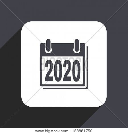 New year 2020 flat design web icon isolated on gray background