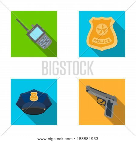 Radio, police officer's badge, uniform cap, pistol.Police set collection icons in flat style vector symbol stock illustration .