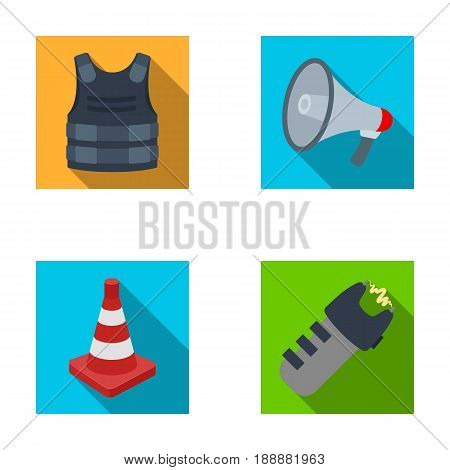 Bulletproof vest, megaphone, cone of fencing, electric shock. Police set collection icons in flat style vector symbol stock illustration .