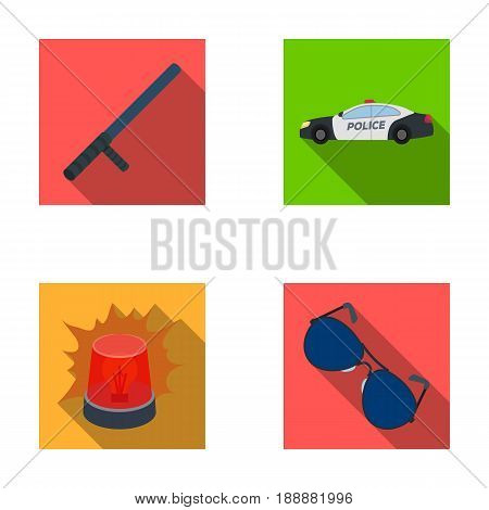 Police baton, auto, flasher, glasses.Police set collection icons in flat style vector symbol stock illustration .
