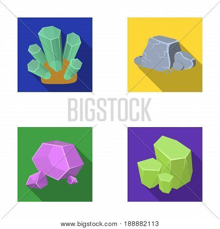 Crystals, iron ore. Precious minerals and a jeweler set collection icons in flat style vector symbol stock illustration .