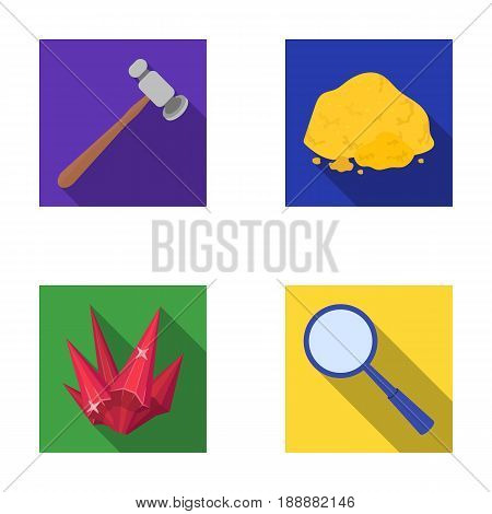 A jeweler's hammer, a magnifier, a copper ore, a crystal. Precious minerals and a jeweler set collection icons in flat style vector symbol stock illustration .