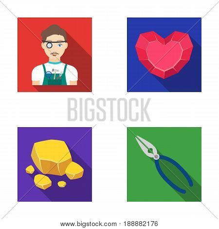Jeweler, pliers, gold ore, garnet in the form of heart. Precious minerals and jeweler set collection icons in flat style vector symbol stock illustration .