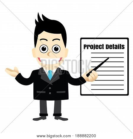 Businessman Giving a Presentation.Men's advice and clarification