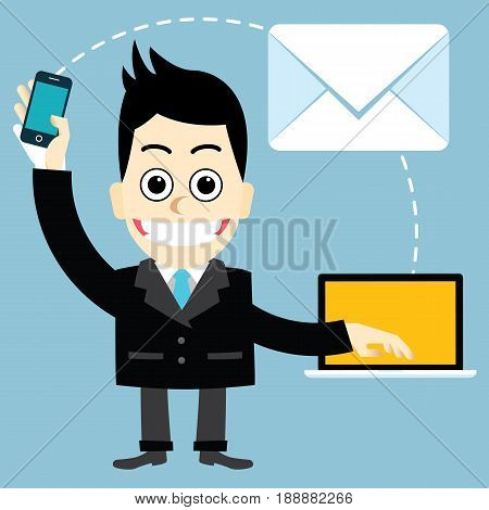 Businessman send e-mail.Men communicate through electronic mail at the modern.