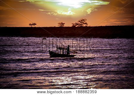 sea scape , sea , Fisher man ,Pattaya , Thailand .