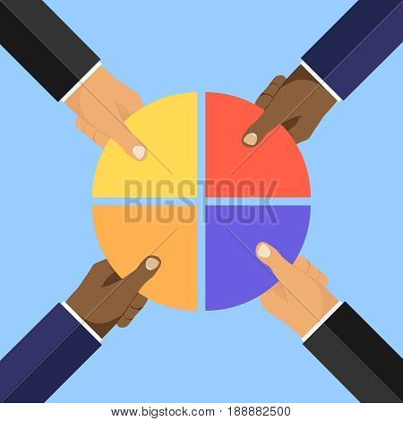 Four businessmen hands picking pie chart parts. Flat design vector illustration vector.