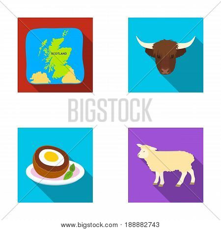 Territory on the map, bull's head, cow, eggs. Scotland country set collection icons in flat style vector symbol stock illustration .
