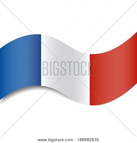 Waving French Flag or French Tricolour with a shadow made in a flat style isolated. Could be used as background, graphic element in vector illustrations, etc.